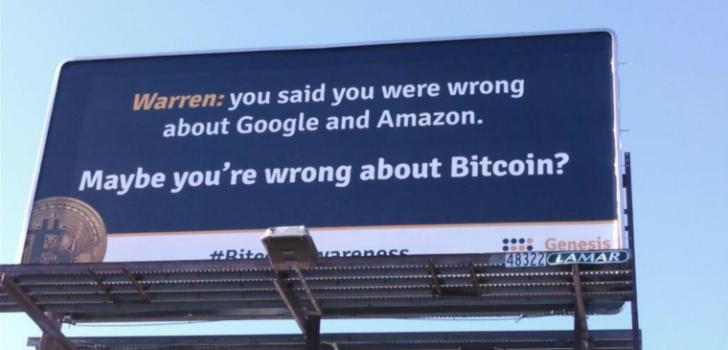 Майнинговая фирма троллит Уоррена Баффета на билбордах