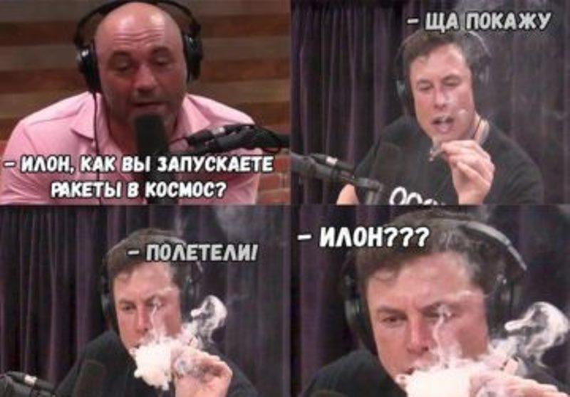 Илон Маск с косяком мем