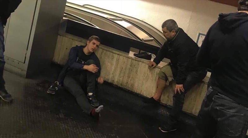 поломка эскалатора в Риме в метро фанаты ЦСКА