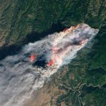 пожар в Калифорнии вид со спутника