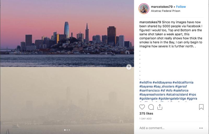 пожары атмосфера в Сан-Франциско